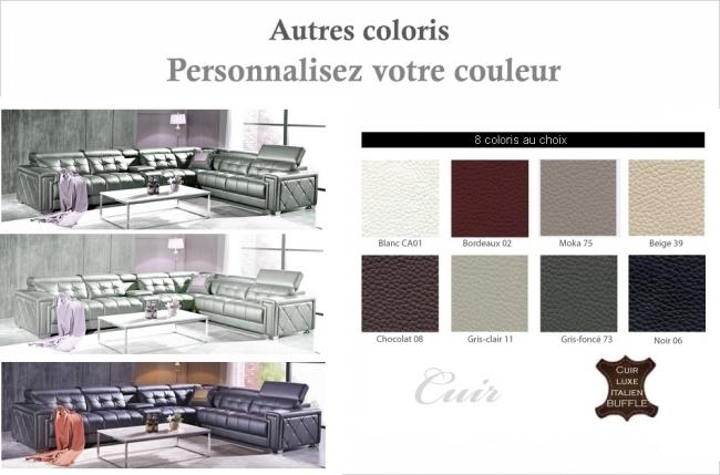 canapé d'angle en cuir de buffle italien de luxe, 6/7 places, prestigia, couleur personnalisée, angle droit