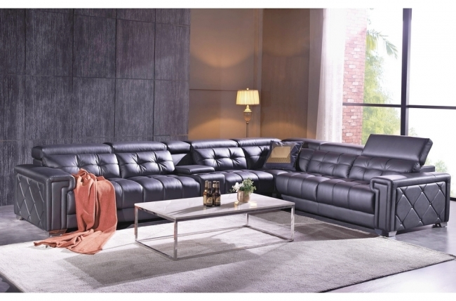 canapé d'angle en cuir de buffle italien de luxe, 6/7 places, prestigia, noir, angle droit