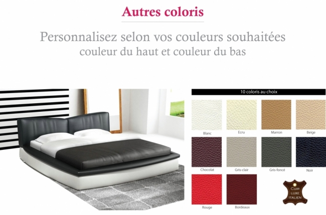 lit en cuir italien de luxe prestigio autre coloris. Black Bedroom Furniture Sets. Home Design Ideas