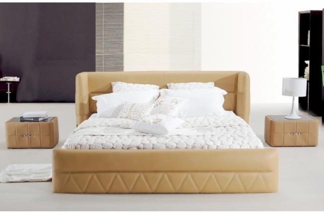 lit design en cuir italien de luxe prima beige mobilier. Black Bedroom Furniture Sets. Home Design Ideas