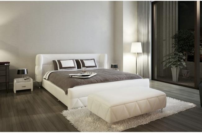 lit design en cuir italien de luxe prima blanc mobilier priv. Black Bedroom Furniture Sets. Home Design Ideas