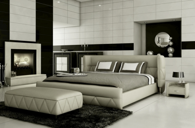 lit design en cuir italien de luxe prima gris clair. Black Bedroom Furniture Sets. Home Design Ideas