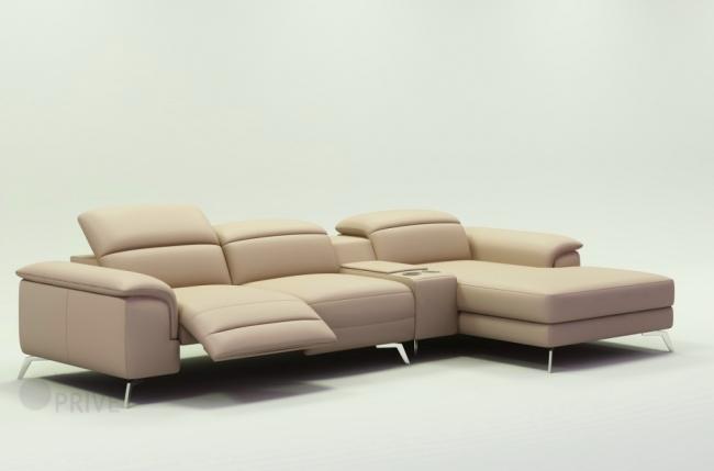canapé d'angle en cuir italien 5 places relaxia, beige
