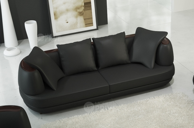 canapé 3 places en cuir italien richmond, noir