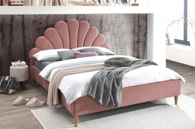 lit double en tissu velours de qualité sania, rose pale, avec sommier à lattes, 160x200