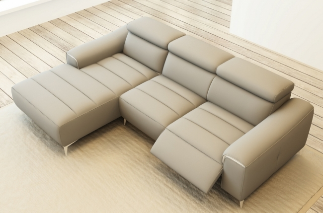 Canap d 39 angle fonction relax en cuir italien 5 places serenity gris cla - Canape cuir gris clair ...
