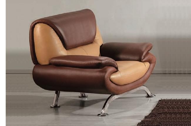 fauteuil 1 place en cuir italien sicilia, beige et chocolat