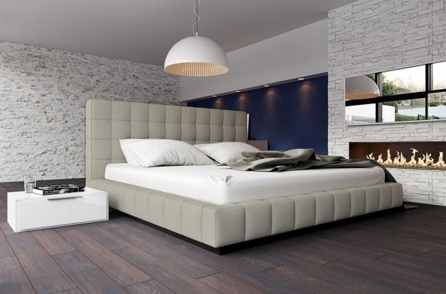 lit design en cuir italien de luxe silver, gris clair, 140x190