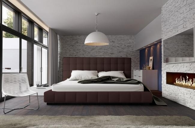 lit design en cuir italien de luxe silver, chocolat, 140x190