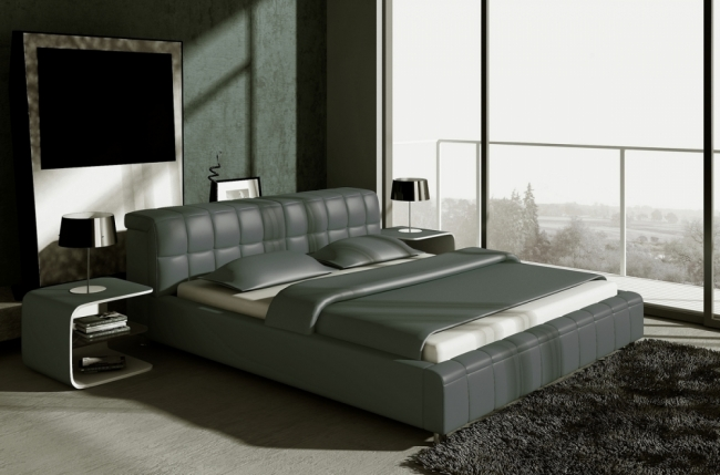 lit design en cuir italien de luxe smiley gris fonc mobilier priv. Black Bedroom Furniture Sets. Home Design Ideas
