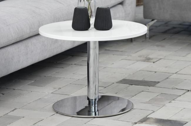 Mobilier Laque Contemporain Table Basse : Table basse design laqué brillant blanc hauteur réglable