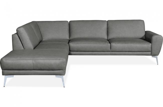 canapé d'angle en 100% tout cuir italien de prestige 6/7 places spania, gris, angle gauche