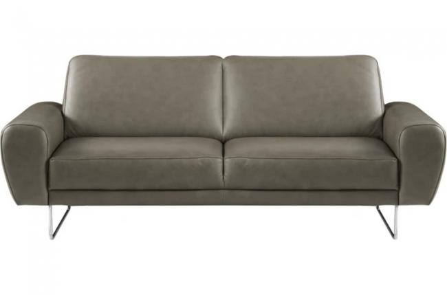 canapé 2 places en 100% tout cuir italien de prestige, spencer, gris