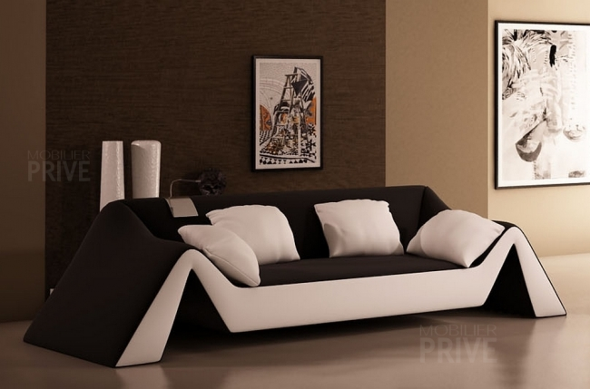 canap 3 places en cuir italien stefano noir et blanc. Black Bedroom Furniture Sets. Home Design Ideas