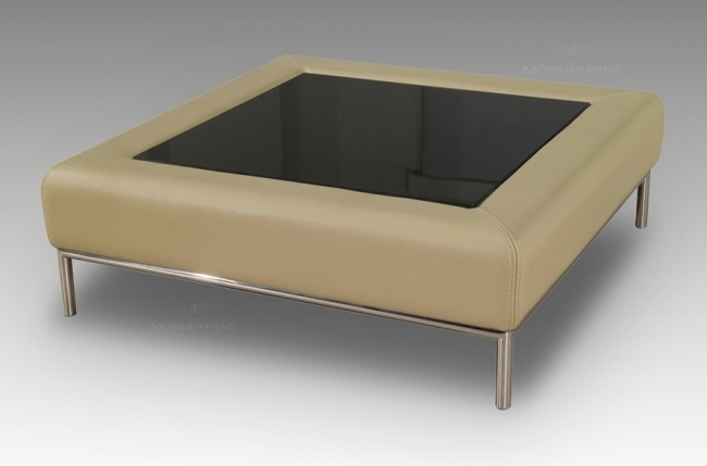 Table basse en simili cuir italien paloma beige mobilier priv - Table basse simili cuir ...
