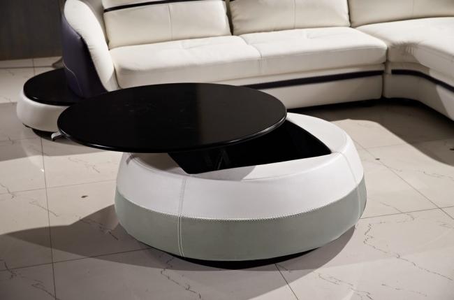table basse design de qualité, blanc et gris clair, geneto