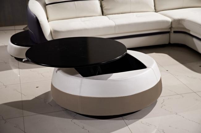 table basse design de qualité, blanc et moka, geneto