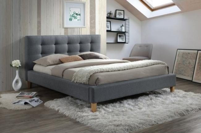 lit double en tissu de qualité teresa, gris, avec sommier à lattes, 160x200