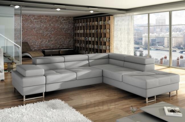 canap d 39 angle convertible turin en simili cuir de qualit gris clair mobilier priv. Black Bedroom Furniture Sets. Home Design Ideas
