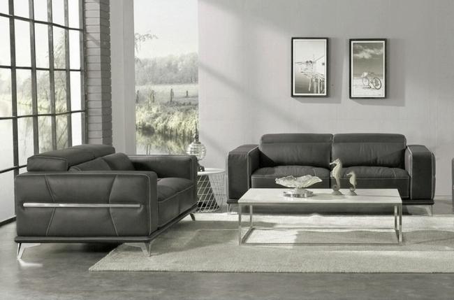 ensemble canapé 3 places et 2 places en cuir italien buffle vega, gris foncé avec surpiqure gris clair