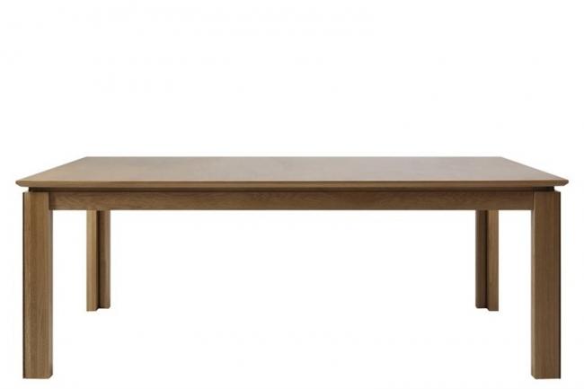 table à manger venda, chêne massif et plaqué, huilé