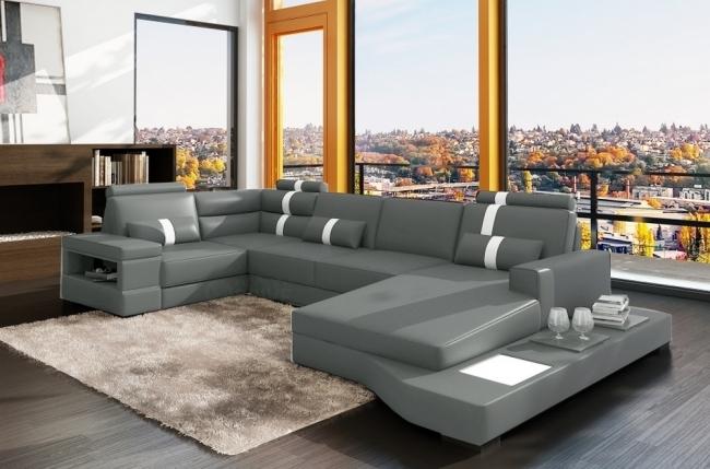 Canap d 39 angle en cuir italien 8 places venise gris clair for Canape d angle gris clair