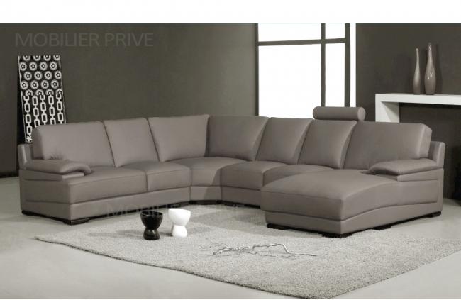 Canap d 39 angle en cuir italien 6 7 places mister gris clair mobilier p - Ventes privees canape ...