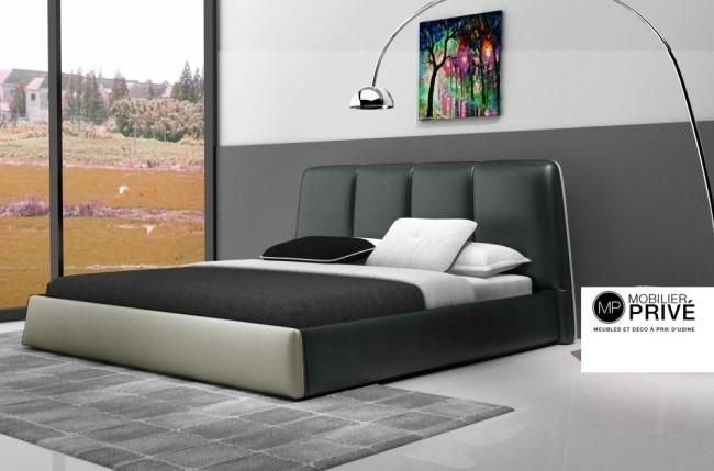 lit design en cuir italien de luxe verdi gris fonc et gris clair 160x200 en stock mobilier priv. Black Bedroom Furniture Sets. Home Design Ideas