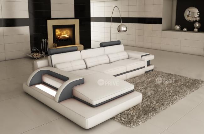 canapé d'angle 6 places ibiza, blanc et gris foncé, angle gauche