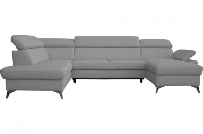 canapé d'angle convertible en cuir italien de luxe 7/8 places warini avec coffre, gris clair, angle gauche