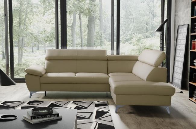 canapé d'angle convertible en cuir italien de luxe 5 places warren ii, avec coffre, beige, angle droit