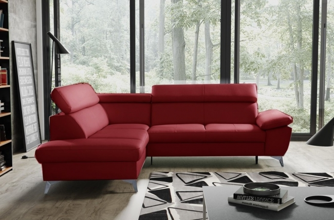 canapé d'angle convertible en cuir italien de luxe 5/6 places warren ii, avec coffre, rouge foncé, angle gauche