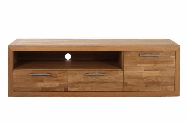 Meuble tv contemporain en bois massif welson mobilier priv for Meuble orme massif contemporain