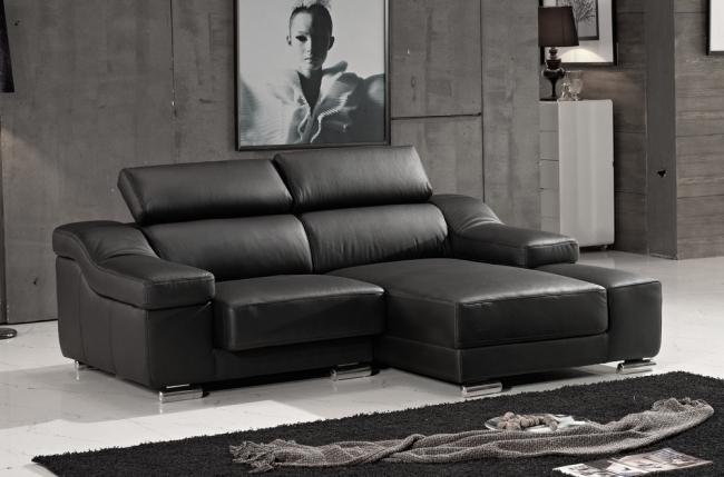 canapé d'angle en cuir buffle italien de luxe zendo, noir, angle droit