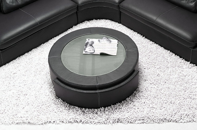table basse en cuir italien marcy noir mobilier priv. Black Bedroom Furniture Sets. Home Design Ideas