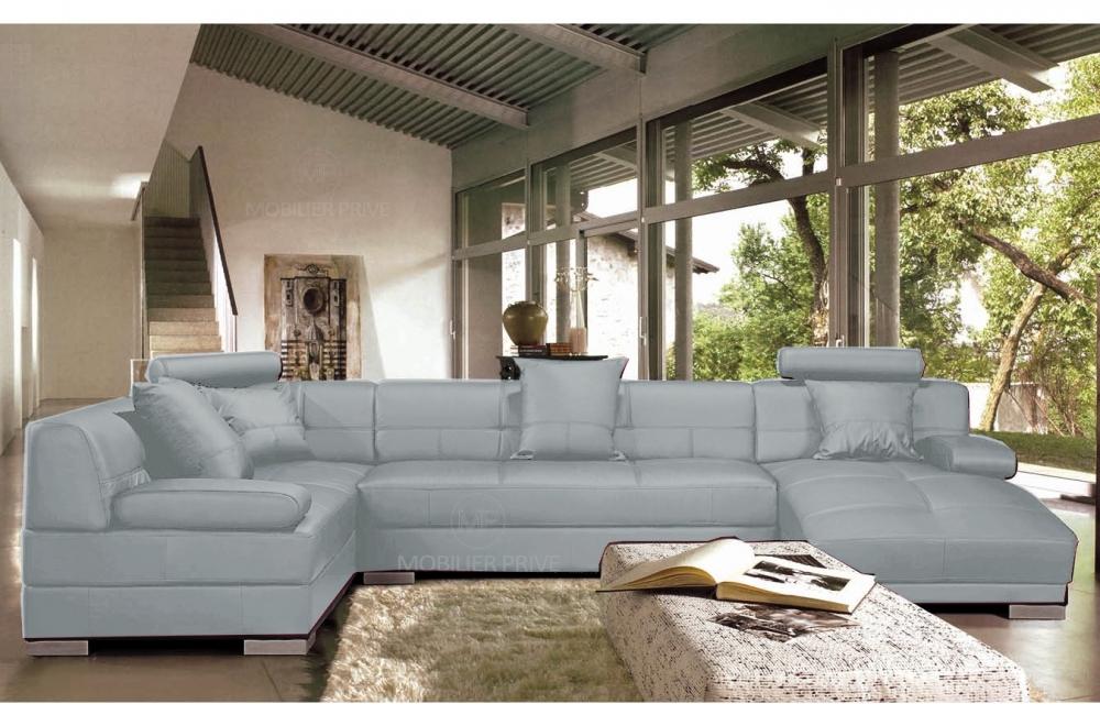 canap d 39 angle en cuir italien 8 places napoli gris clair mobilier priv. Black Bedroom Furniture Sets. Home Design Ideas