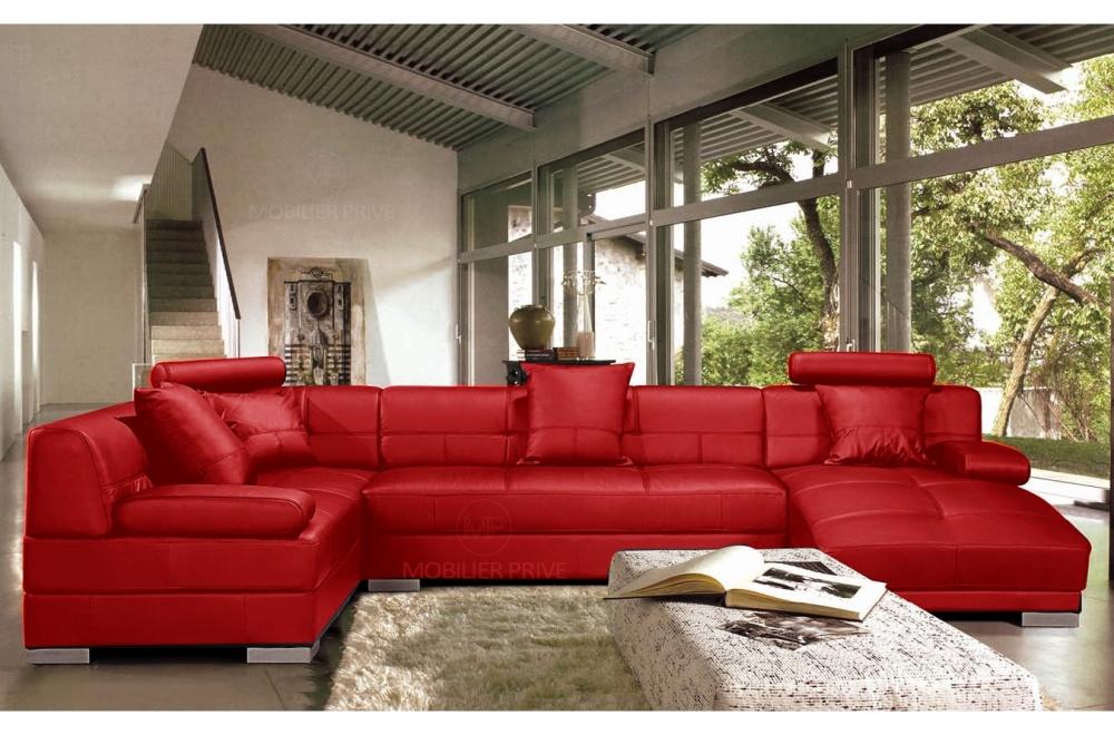 Canapé d'angle en cuir italien 8 places NAPOLI, rouge