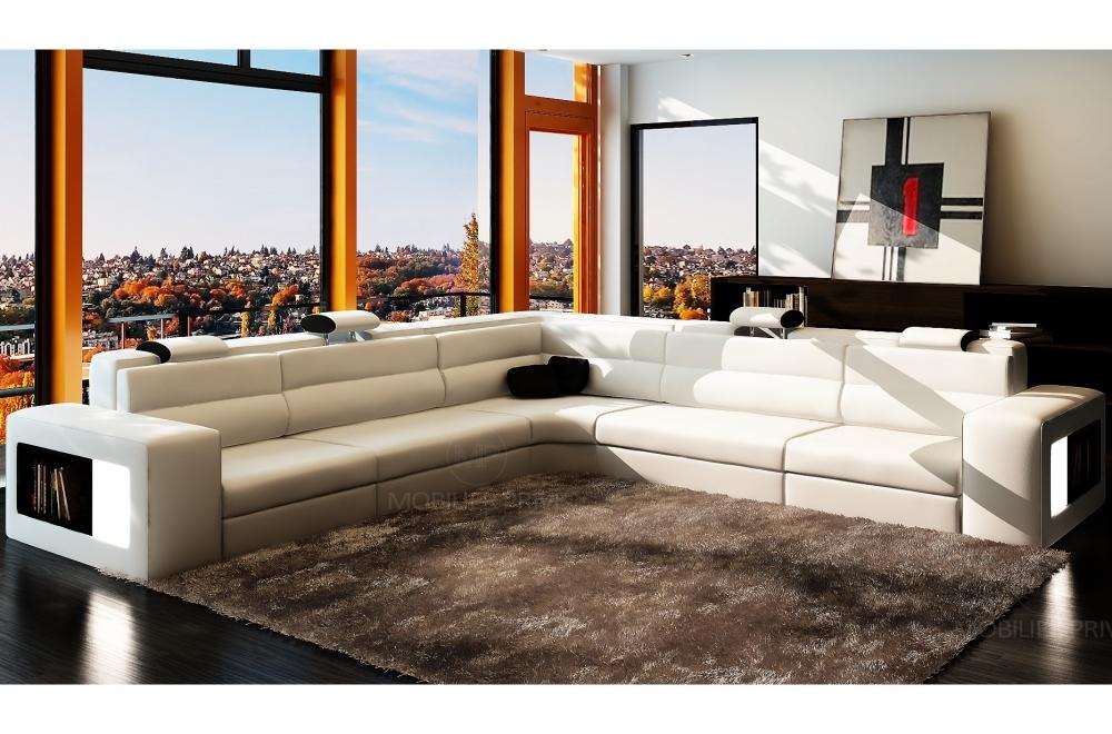 Canapé d\'angle en cuir italien 6/7 places DIVINA, blanc / noir
