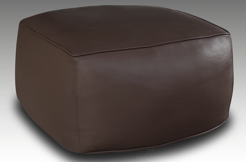 grand pouf en cuir magnum chocolat mobilier priv. Black Bedroom Furniture Sets. Home Design Ideas
