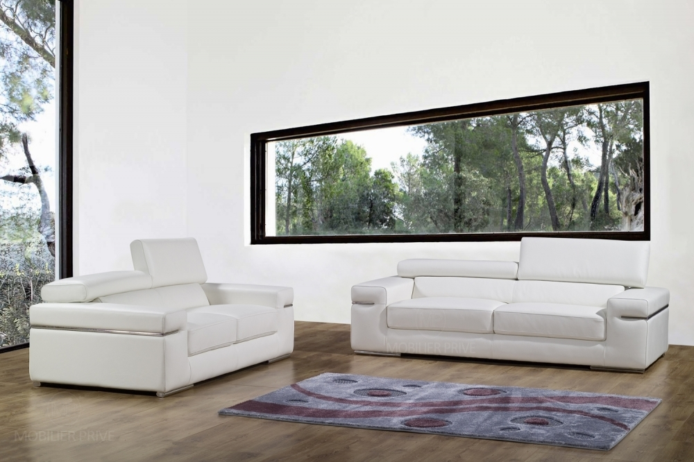 canap canap 2 places en cuir italien alonso blanc. Black Bedroom Furniture Sets. Home Design Ideas