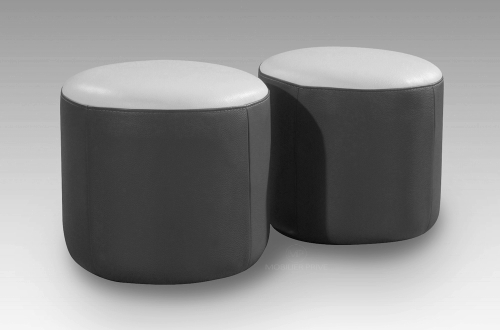 ensemble de 2 poufs rond en cuir noir mobilier priv. Black Bedroom Furniture Sets. Home Design Ideas