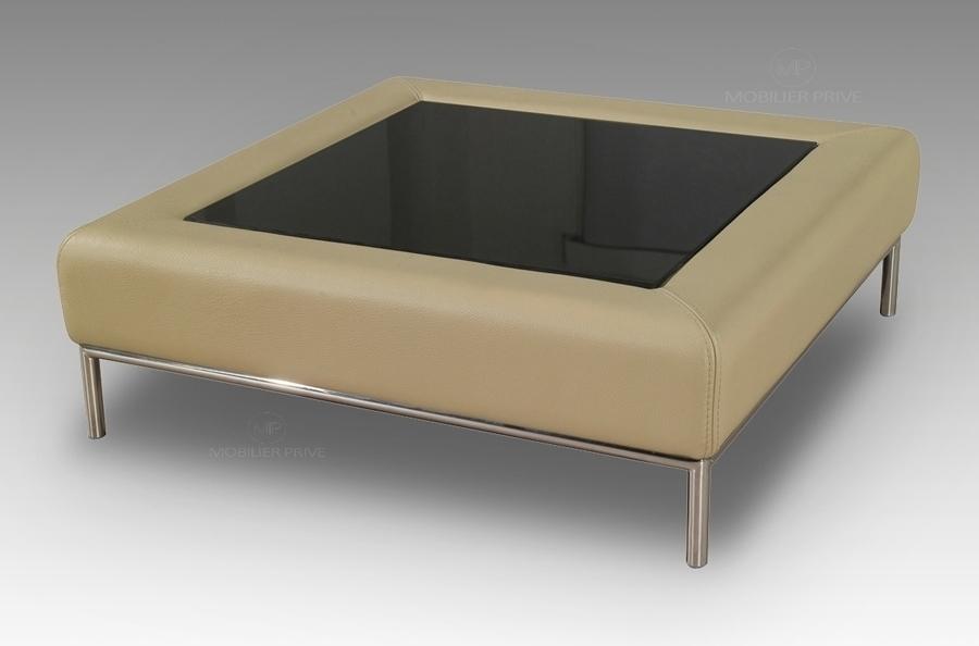 table basse en cuir italien paloma beige mobilier priv. Black Bedroom Furniture Sets. Home Design Ideas