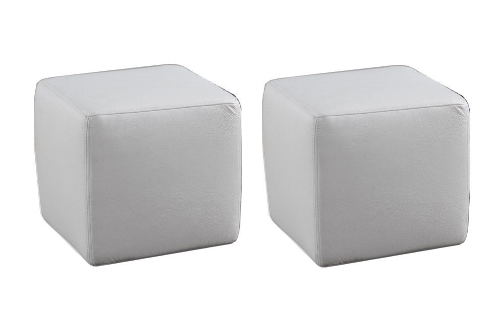 ensemble de 2 poufs carr s en cuir blanc mobilier priv. Black Bedroom Furniture Sets. Home Design Ideas