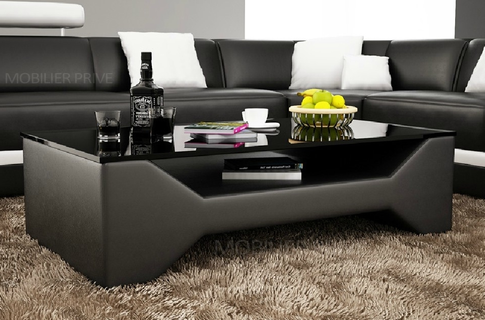 Table basse design cosy noire mobilier priv - Table basse design noire ...