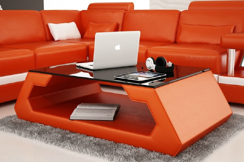 Table basse design alma, orange. - Mobilier Privé