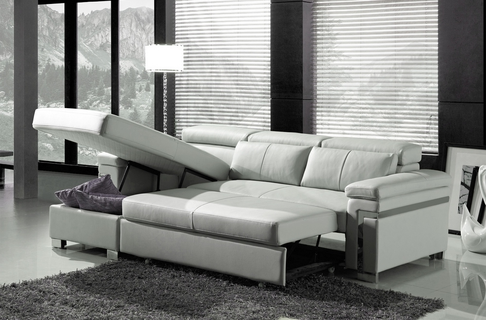 Canapé d'angle convertible en cuir buffle italien 5 places, ALLURE,  blanc, angle gauche