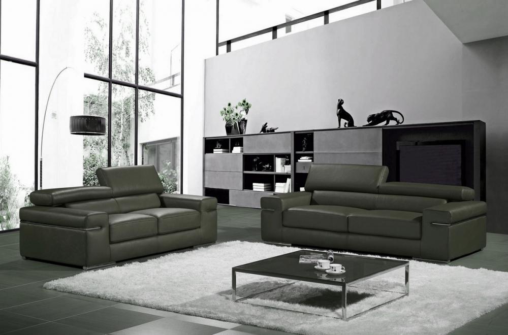 ensemble compos d 39 un canap 3 places et d 39 un canap 2 places en cuir luxe italien alonso gris. Black Bedroom Furniture Sets. Home Design Ideas