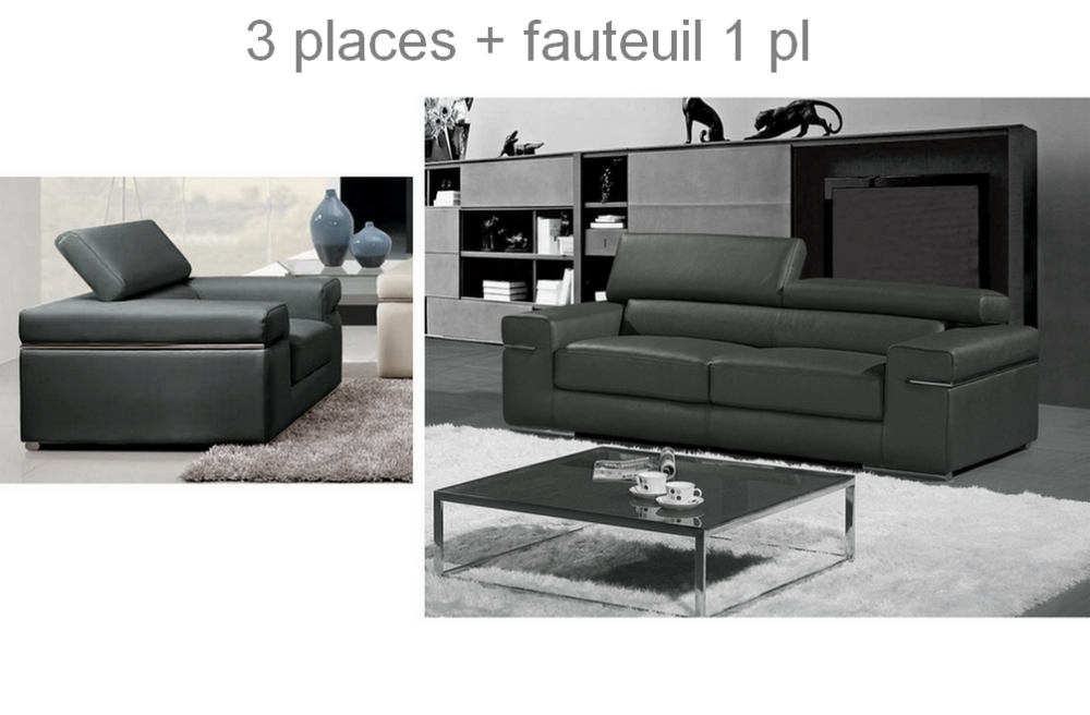 ensemble compos d 39 un canap 3 places et d 39 un fauteuil 1 place en cuir luxe italien alonso. Black Bedroom Furniture Sets. Home Design Ideas