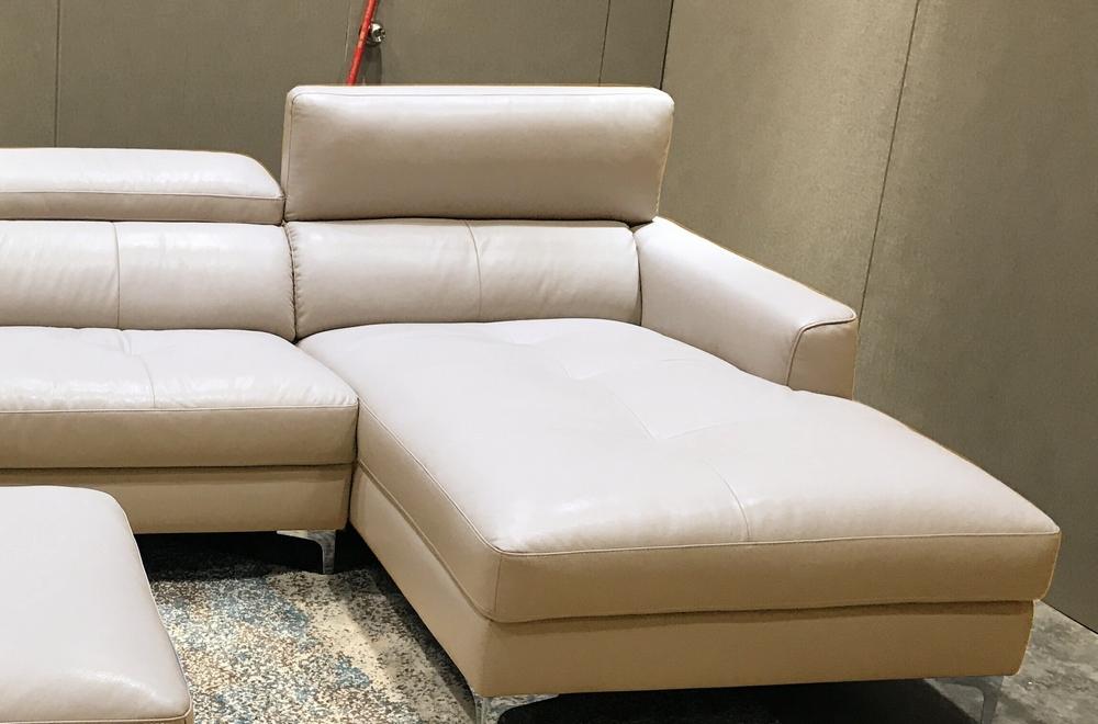 Canap d 39 angle en cuir buffle italien de luxe 5 places armano beige an - Canape d angle cuir de buffle ...