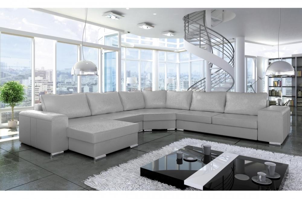 canap d 39 angle convertible astore en simili cuir de qualit gris clair mobilier priv. Black Bedroom Furniture Sets. Home Design Ideas
